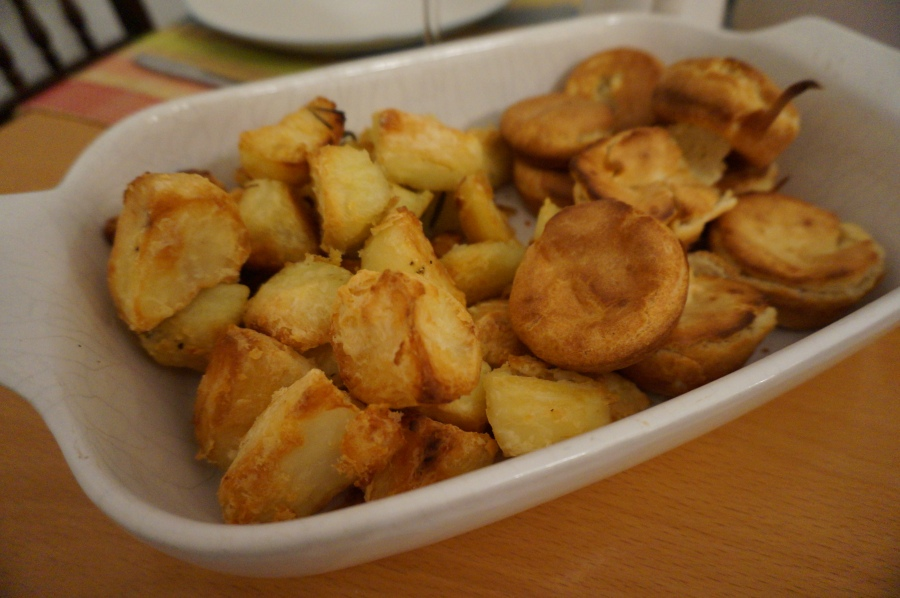 Roast potatoes and Yorkshire puddings