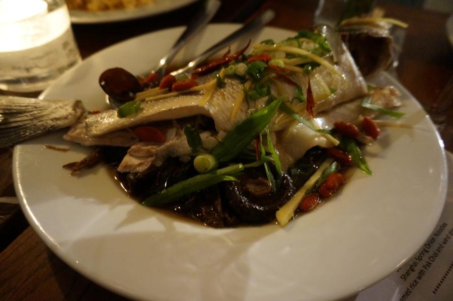 Steamed sea bass at Shanghai Moon supper club