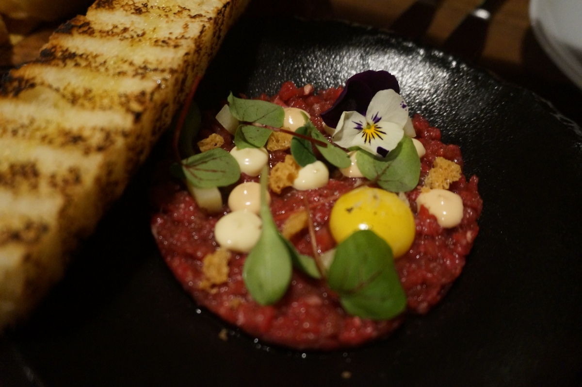 Hand chopped beef tartare at Mele e Pere
